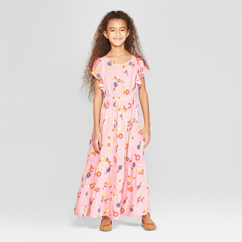 Girls' Woven Maxi Dress - Cat & Jack™ Pink - image 1 of 3
