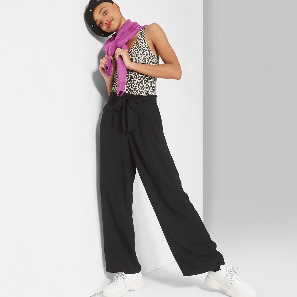 Women's Mid-Rise Paper Bag Waist Flare Wide Leg Pants - Wild Fable Black M