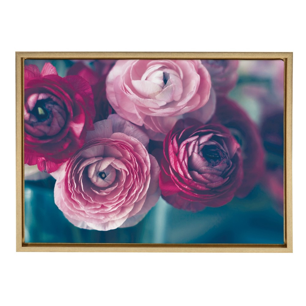 "Image of ""Kate & Laurel 24""""x18"""" Sylvie Pink Flower Bouquet By Kristy Campbell Framed Wall Canvas Gold"""