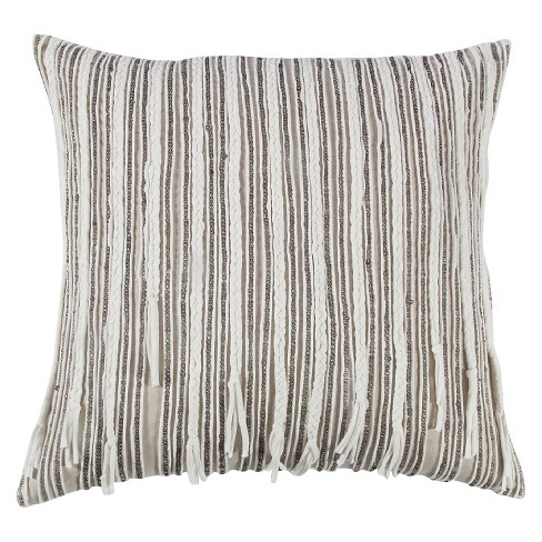 "Natural Stripe Throw Pillow (20""x20"") - Rizzy Home® - image 1 of 1"