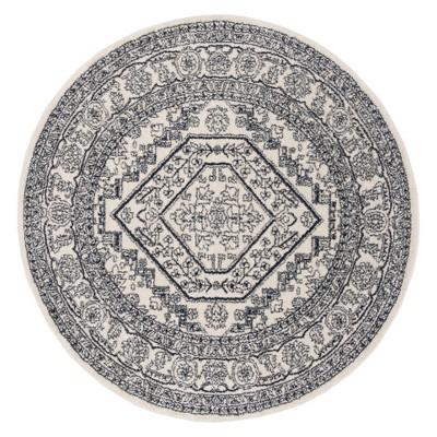 6' Medallion Round Area Rug Ivory/Navy - Safavieh