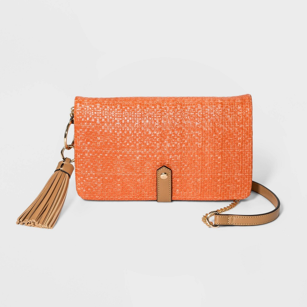 Image of VR NYC Convertible Foldover Compartment Crossbody Bag - Orange, Red
