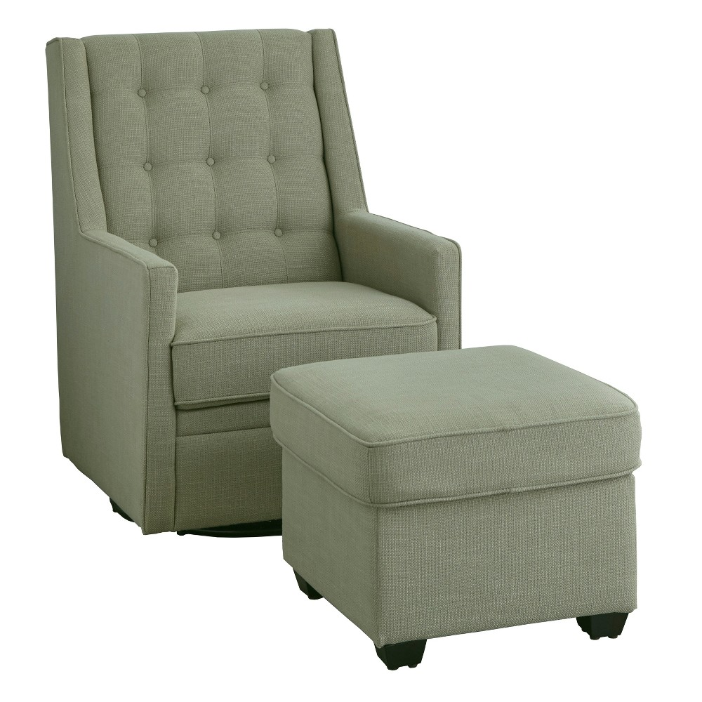 Image of Lillian Rocking Swivel Chair and Ottoman Moss Green - angelo:Home