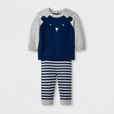 Baby Boys' Bear Top and Bottom Set - Cloud Island™ Navy Newborn