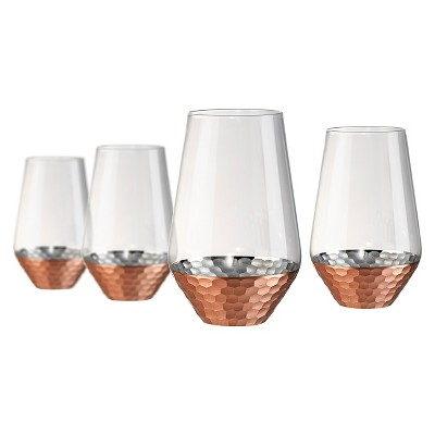 Artland Coppertino 4pk 17oz Highball Glasses Copper