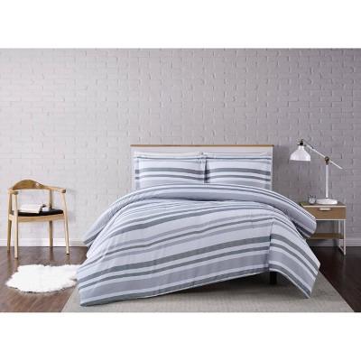 Curtis Stripe Comforter Set White/Gray - Truly Soft