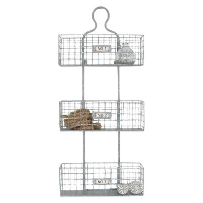 "23.5"" x 35.5"" x 1"" Three Tier Numbered Metal Meshed Wire Hanging Wall Storage Baskets Silver - American Art Decor"