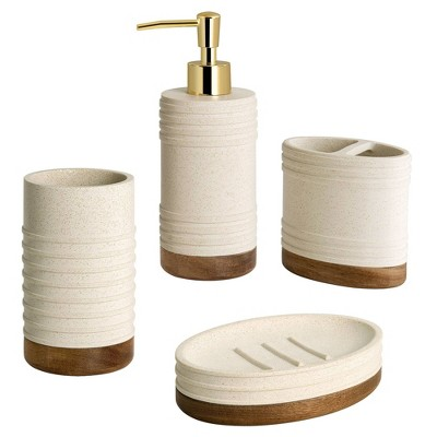 4pc Marson Lotion Pump/Toothbrush Holder/Tumbler/Soap Dish Set Gray/Natural - Allure Home Creations