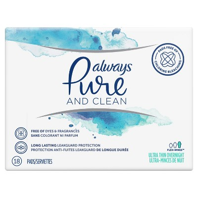 Always Pure and Clean Ultra Thin Overnight Pads - 18ct