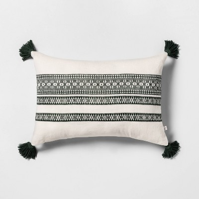 Throw Pillow Green with Tassels - Hearth & Hand™ with Magnolia