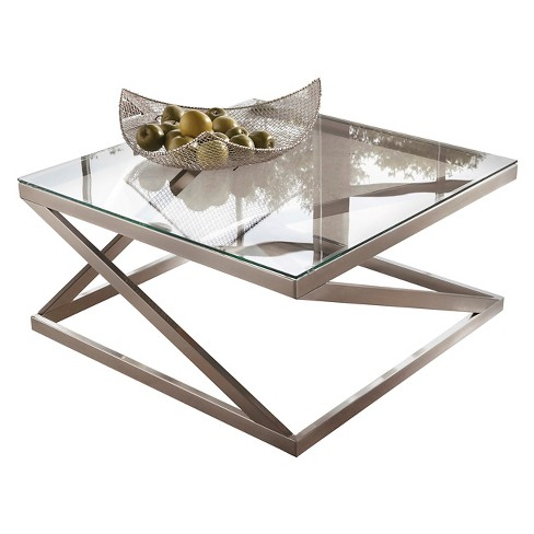 Coylin Square Cocktail Table Brushed Nickel Finish - Signature Design by Ashley - image 1 of 5
