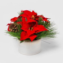 "11"" x 9.5"" Artificial Poinsettia Arrangement in Ceramic Pot Green/Red - Threshold™"
