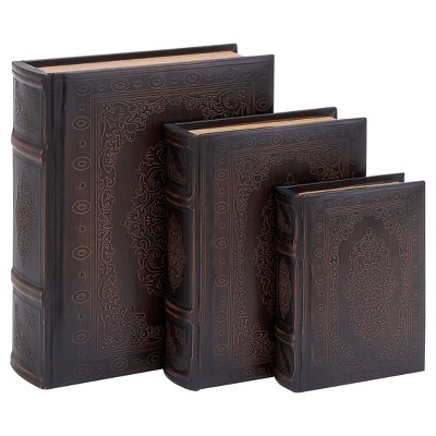 Vintage Reflections Rustic Wood-Style MDF and Synthetic Leather Book Box Set 3ct - Olivia & May