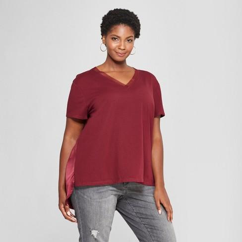 4c8ec8c90da Women s Plus Size Ruched Back Short Sleeve T-Shirt- Ava   Viv ...