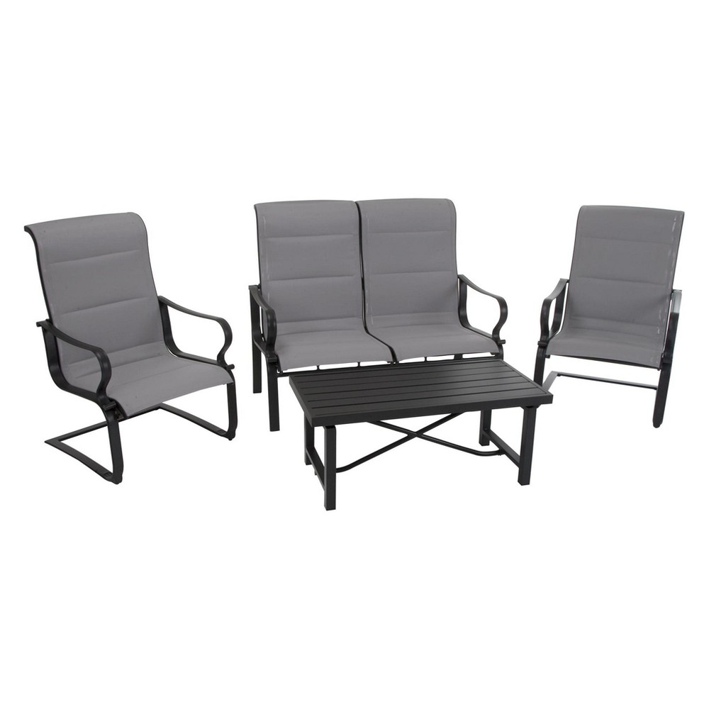 'It's a Snap' 4pc Patio Conversation Set with Rocking Chairs - Charcoal Gray/Light Gray - Cosco Outdoor Living