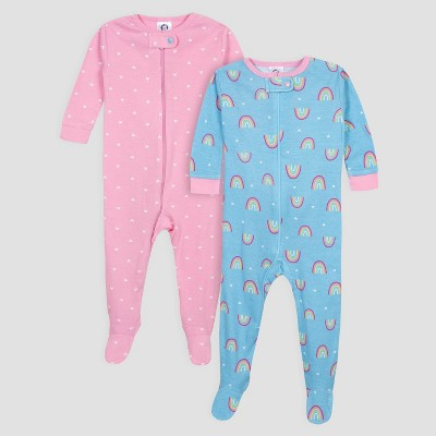 Gerber Baby Girls' 2pk Rainbow Long Sleeve Footed Unionsuit Pajama Set - Blue/Pink 3M
