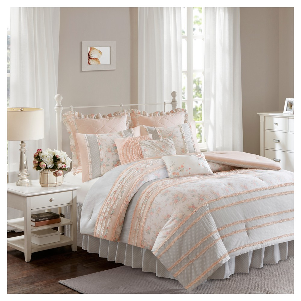 Desiree Cotton Percale Comforter Bedding Set with Euro and Bedskirt, Pink