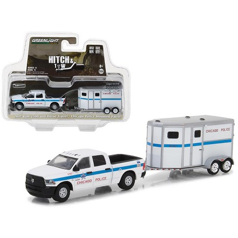 2017 Dodge Ram 2500 and Horse Trailer Chicago Police Mounted Patrol Hitch & Tow Series 11 1/64 Diecast Model Greenlight - image 1 of 1