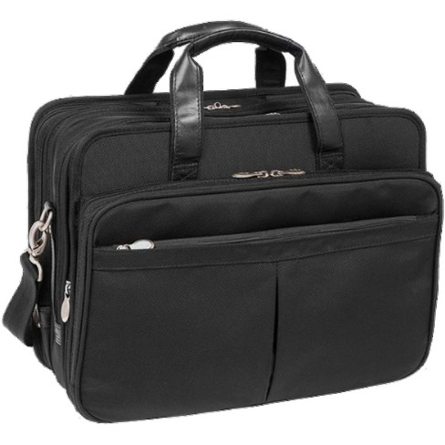 Mcklein Roosevelt 17 Nylon Patented Detachable Wheeled Laptop Briefcase With Removable Sleeve Black