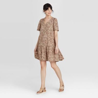 Women's Short Sleeve Ruffle Hem Dress - A New Day™