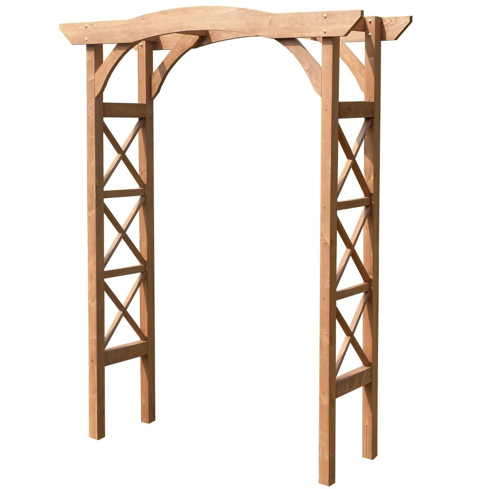 Image of 7' Venice Cedar Wood Weatherproof Arbor - Natural Wood - Merry Products