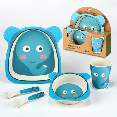 5pc Bamboo Kids Elephant Dinnerware Set Blue - Certified International