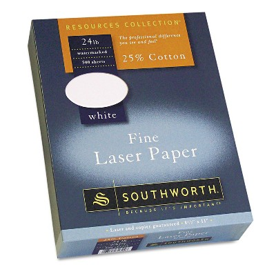 Southworth 25% Cotton Laser Paper White 24 lbs. Smooth Finish 8-1/2 x 11  500/Box 3172410