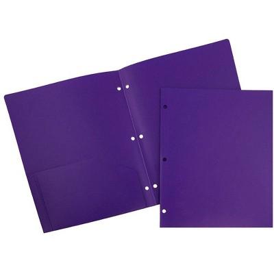 JAM 6pk Heavy Duty 3 Hole Punch 2 Pocket Paper Folder
