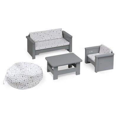 """Living Room Furniture Set for 18"""" Dolls - Gray/White"""
