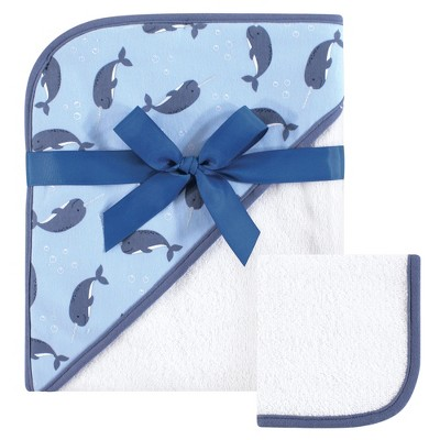 Hudson Baby Infant Boy Cotton Hooded Towel and Washcloth 2pc Set, Narwhal, One Size