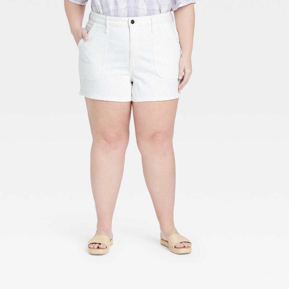 Women 39 S Plus Size High Rise Carpenter Shorts Universal Thread 8482 White 14w