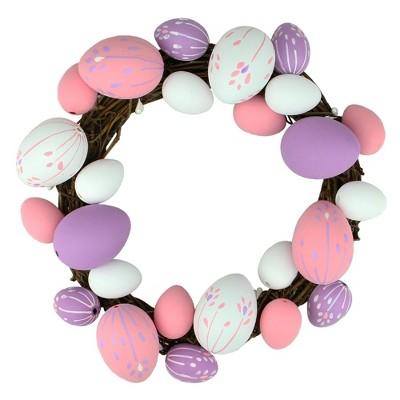 "Northlight 10"" Unlit Floral Stem Easter Egg Spring Grapevine Wreath - White/Pink"