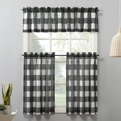 Fallon Buffalo Plaid Rod Pocket Kitchen Curtain Tier Pair Gray - No. 918