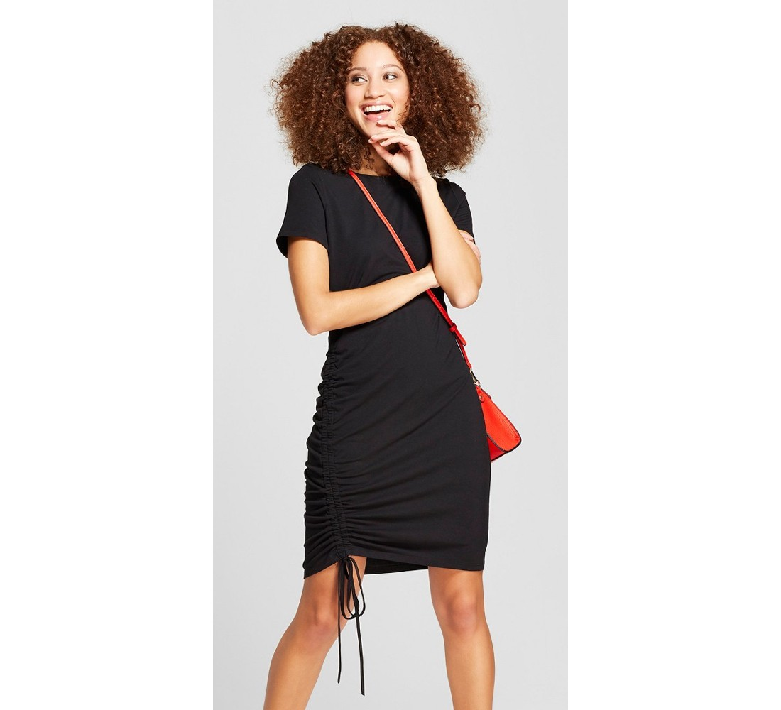 Women's Asymmetrical Short Sleeve Ruched T-Shirt Dress - A New Day™ Black