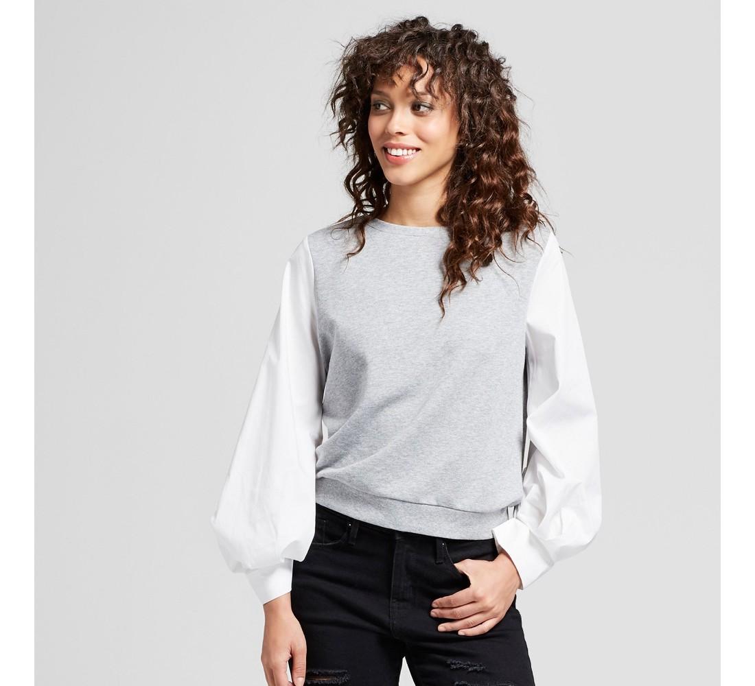 Women's Knit To Woven Sweatshirt - Mossimo™ Gray