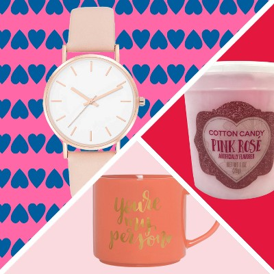Women's Strap Watch - A New Day, Valentine's Champagne Flavored Cotton Candy, Clay Art Stackable Mug 15oz Porcelain - You're My Person