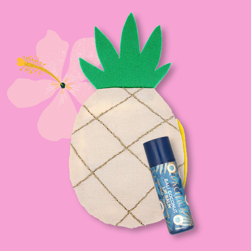 Meri Meri Pineapple Pouch, Pacifica Vegan Lip Balm - Bali Coconut - 0.15oz