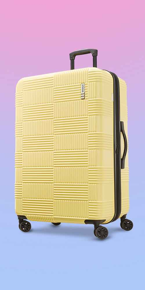 """American Tourister 28"""" Checkered Hardside Spinner Suitcase - Yellow"""