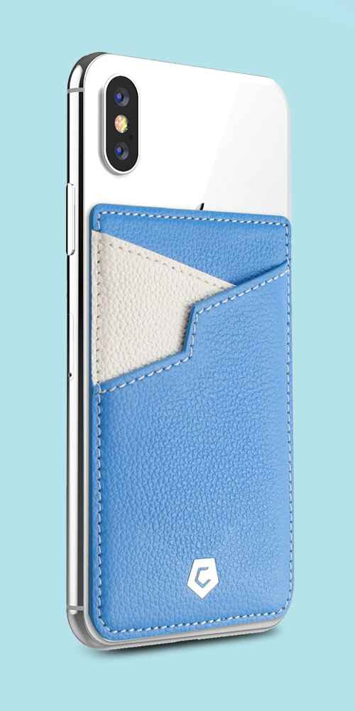 Cobble Pro Stick-On Genuine Leather Card Holder Adhesive Pocket Phone Wallet for iPhone 11 Pro Max XS X XR SE2 Samsung S10 S9 Note 10 Los Angeles Blue