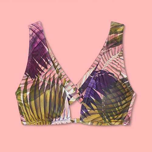 Women's Tall Triangle Ring Detail Bikini Top - Shade & Shore™ Acai Purple Palm Print S