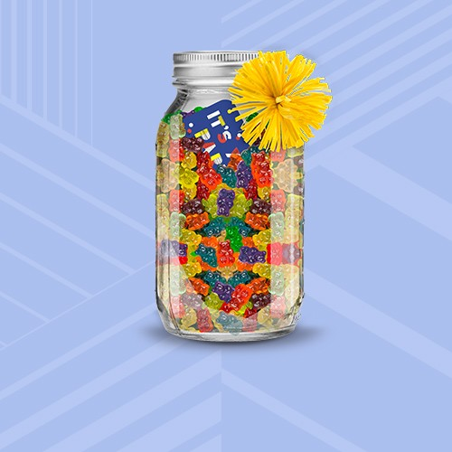 HARIBO Gold-Bears Gummi Bears - 3lbs, Mason Craft & More 32oz Set of 8 Canning Jars, 3ct Paper Bows Blue/Pink/Yellow - Spritz™, Its Your Party GiftCard