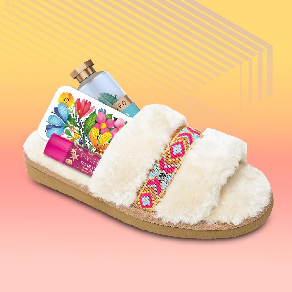 Minnetonka Women's Faux Fur London Slide Slipper, Pacifica Vegan Lip Balm - Rose Water - 0.15oz, Floral Collage GiftCard, Beloved Cactus Flower & Basil Hand Cream Lotion - 1oz