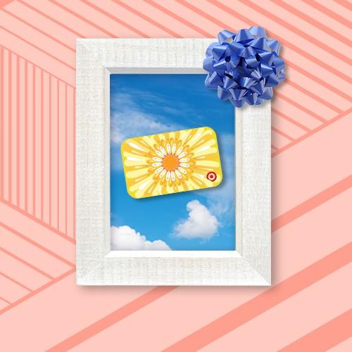 Big Flower GiftCard, Frame Whitewashed Wood - Threshold™, Glossy Blue Gift Bow - Spritz™