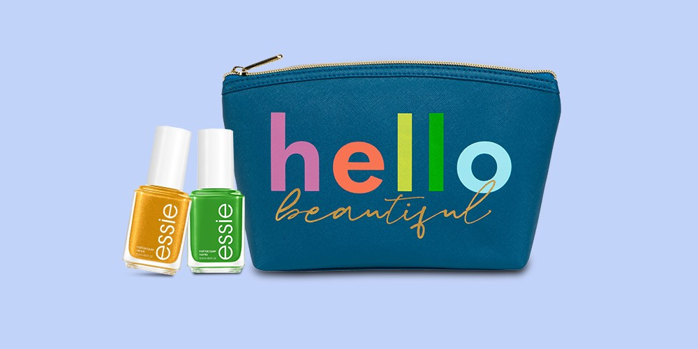 Ruby+Cash Zip Cosmetic Pouch - Hello Beautiful, essie Limited Edition Summer 2021 Nail Polish - Get Your Grove On - 0.46 fl oz, essie Limited Edition Summer 2021 Nail Polish - Feelin Just Lime - 0.46 fl oz, essie Nail Polish - Play Date - 0.46 fl oz, essie Nail Polish - Turquoise & Caicos - 0.46 fl oz, essie Nail Polish - Watermelon - 0.46 fl oz, Blossom Delicious Kiss Roll-On Lip Gloss - Mango - 0.2 fl oz