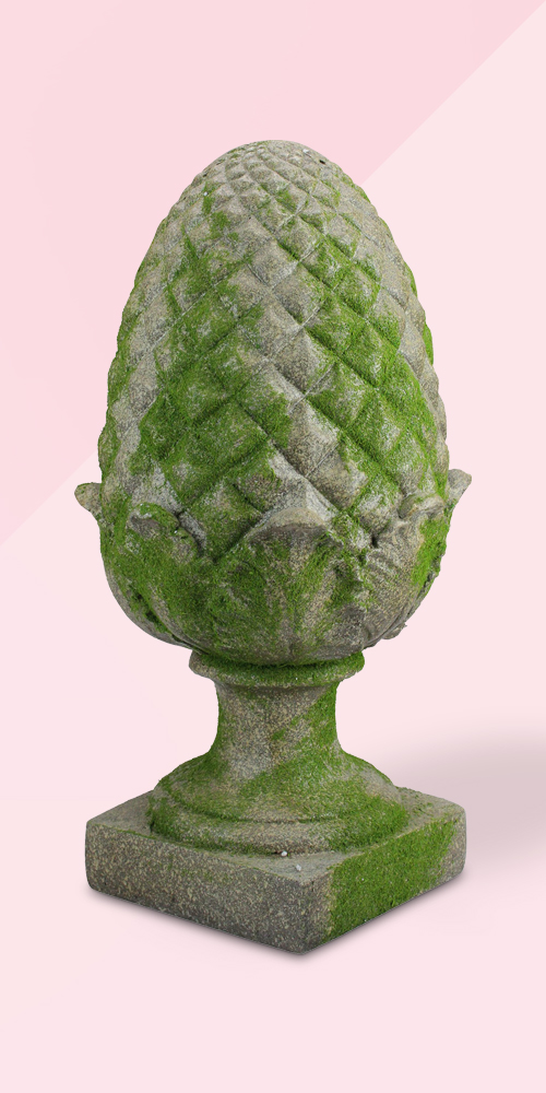 "Northlight 20.75"" Green Moss Accented Pineapple Finial Outdoor Garden Statue"