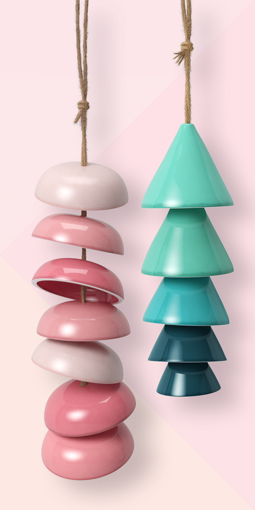 Ceramic Wind Chime Pink - Opalhouse™, Ceramic Wind Chime Blue - Opalhouse™