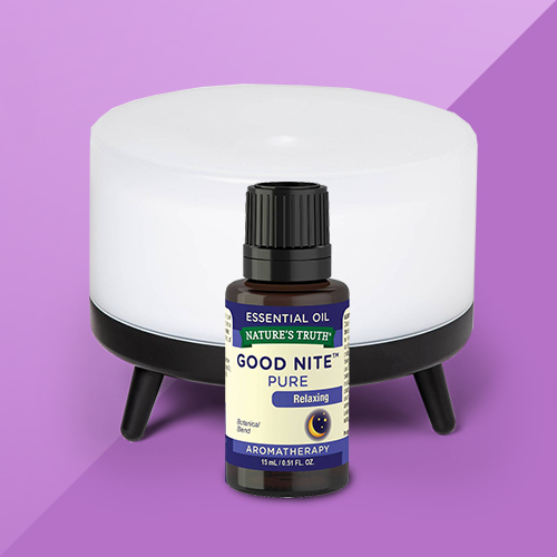 300ml Footed Base Oil Diffuser Black/White - Project 62™, Nature's Truth Good Nite Aromatherapy Essential Oil Blend - 0.51 fl oz