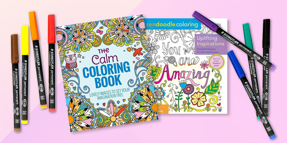 Uplifting Inspirations (Zendoodle Coloring) (Paperback)by Justine Lustig, The Calm Adult Coloring Book: Lovely Images to Set Your Imagination Free by Arcturus Holdings Limited (Paperback), Lumocolor Permanent Markers 8ct - Staedtler
