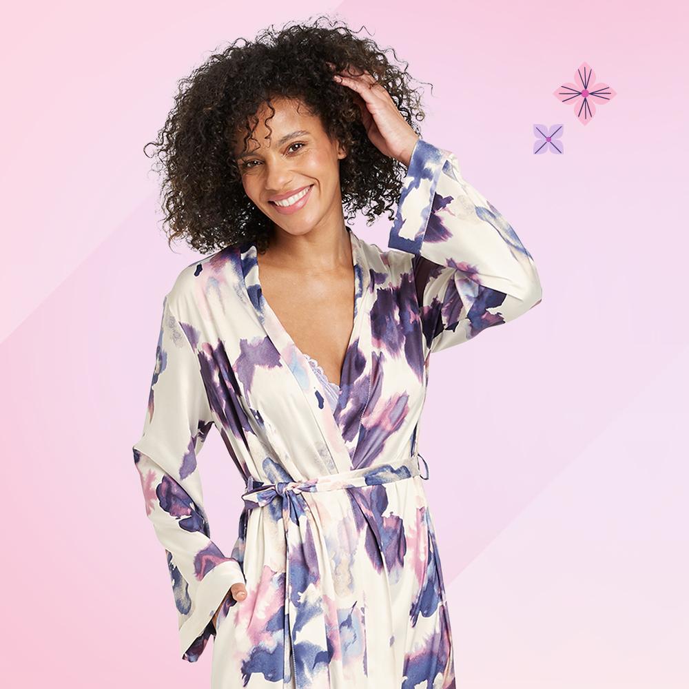 Women's Floral Print Satin Robe - Stars Above™ Cream, Women's V-Neck Bodysuit - Auden™ Violet XS