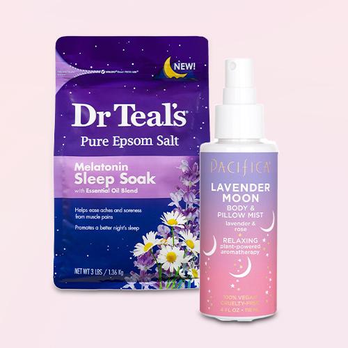 Dr Teal's Melatonin Sleep Epsom Bath Soaks - 48oz, Pacifica Lavender & Rose Moon Body and Pillow Mist - 4 fl oz